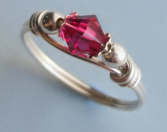 Sterling Silver and Fuchsia Swarovski Crystal Wire Wrapped Ring