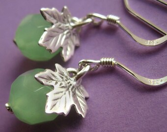 Small Sterling Silver Oak Leaf and Spring Green Drop Earrings