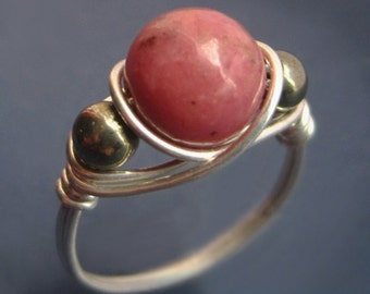 Sterling Silver Wire Wrapped Rhodonite and Pyrite Ring