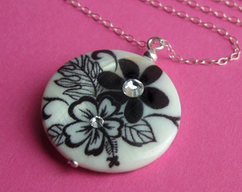 Fairy Gardens -- Sterling Silver, Swarovski Rhinestone, and Floral Shell Necklace