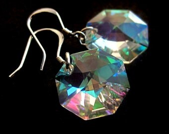Sterling Silver and Swarovski Crystal Rainbow Chip Earrings