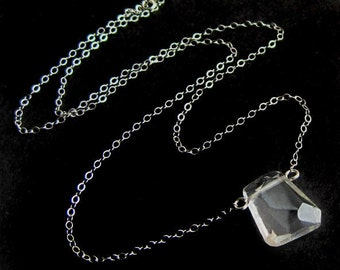 Freeform Crystal Quartz and Sterling Silver Necklace