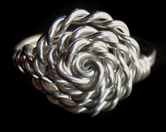 Sterling Silver Twisted Rope Rosette Ring