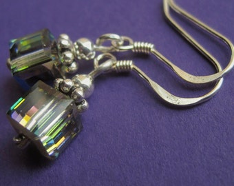 Dainty Sterling Silver and Swarovski Vitrail Cube Earrings