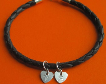 Custom Sterling Silver Heart Charm and Black Braided Leather Bracelet
