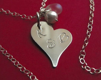 Custom Hand Stamped Sterling Silver Heart Tag Necklace With or Without Charms