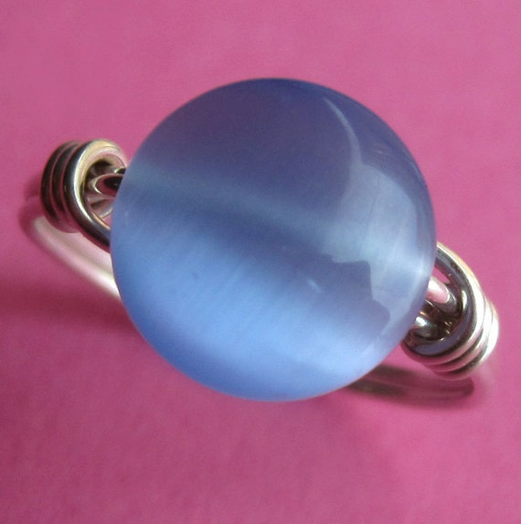 Sterling Silver Wire Wrapped Blue Cat's Eye Ring