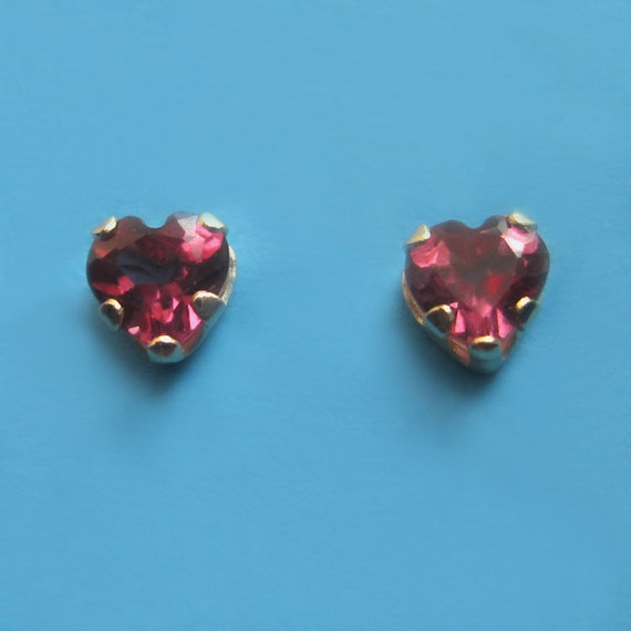 Tiny 14K Gold and Rhodolite Garnet Heart Studs