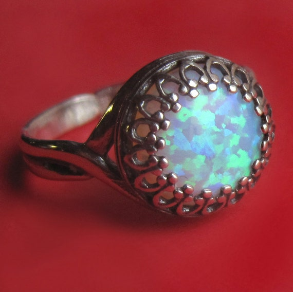 Faerie Eye -- Adjustable Sterling Silver Crown Bezel Set Lab Opal Ring