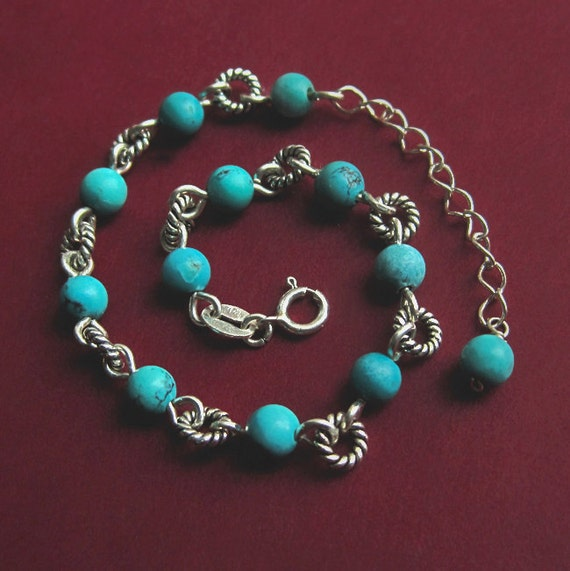 Sterling Silver Beaded Turquoise Bracelet with Extender