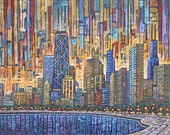 Chicago Dusk 5x7 Art Print by Anastasia Mak