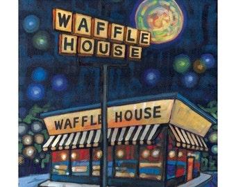 Midnight Waffle House 5x7 Art Print by Anastasia Mak