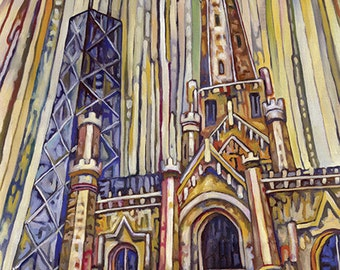 Chicago Water Tower 5x7 Art Print by Anastasia Mak