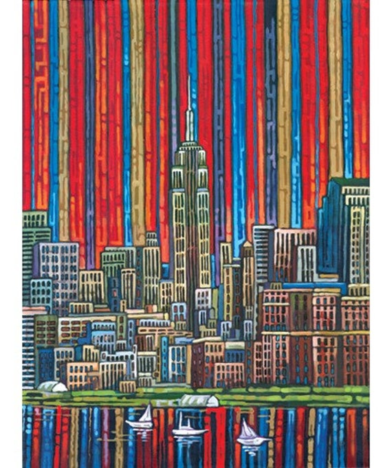 Red Manhattan, Empire State Building, NYC, downtown Manhattah, New York skyline, 8x10 Art Print by Anastasia Mak