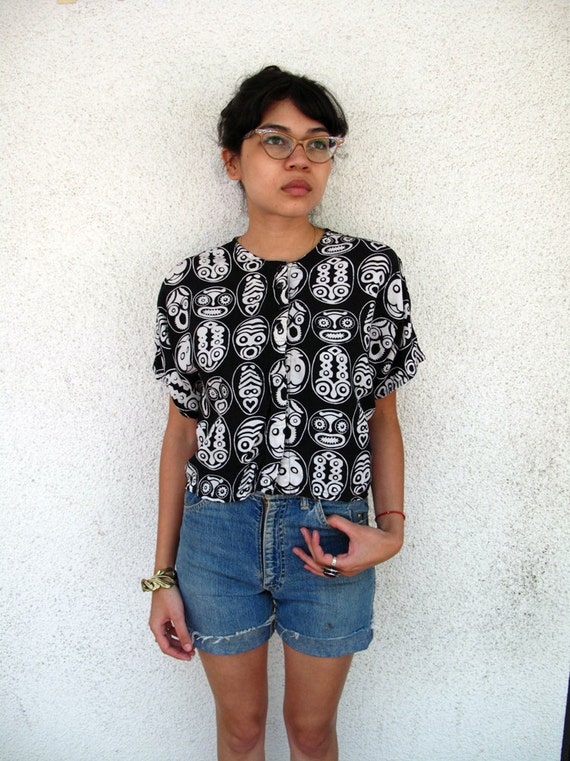 Vintage 80s Ethnic Rayon cropped blouse