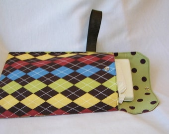 Diaper wipe clutch ..... wristlet  ....  Argyle plaid with coordinating mossy green polka dot  interior