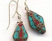 Nepal Earrings. Floral Earrings, Tibet Turquoise Earrings, Nepal Beads on Sterling Silver Wire, Handmade Nepal Jewelry by AnnaArt72
