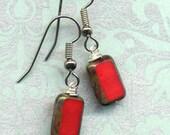 Earrings in Perfect scarlett red Czech Glass