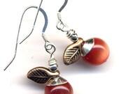 Orange Delight Earrings, Cat Eye Earrings, Sterling Wire, Tangerine Earrings, Handmade Jewelry by AnnaArt72