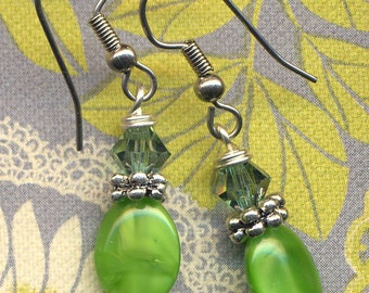 Lime Green Czech Beads and Swarovski Crystals Earrings, Fancy Glass Earrings, Green Glass Earrings, Jewelry by AnnaArt72