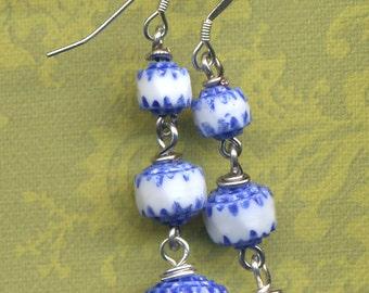 Sterling Earrings, Blue and White Earrings, Sterling Silver Ear Wire  Earrings, Blue White Earrings, Handmade Jewelry by Annaart72