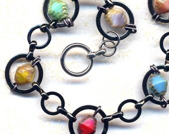 Multi Color Bracelet, Circle Links Bracelet, Mod City Bracelet, Handmade Jewelry by AnnaArt72