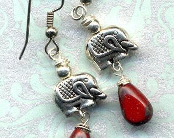 Surgical Steel Elephant Earrings, Lucky Elephants Earrings,  Silver and Red drop Earrings,, Elephant Earrings, Amulet Earrings, Ganesha