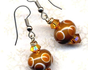 Brown Earrings, Fall Color Earrings, OOAKEarings,  Coffee and Cream plus Swarovski Sunshine Earrings SALE