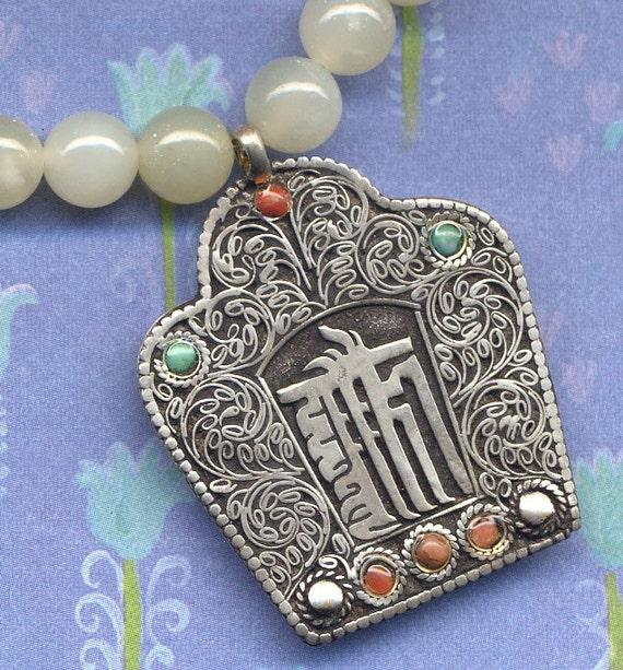 Nepalese Necklace - Kalichakra Sea Jade - Nepal Jewelry by AnnaArt72