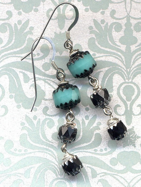 Turquoise and Black Earrings.Sterling silver ear wire.Czech Glass Earrings.Czech Beads Earrings.Handmade Jewelry by AnnaArt72