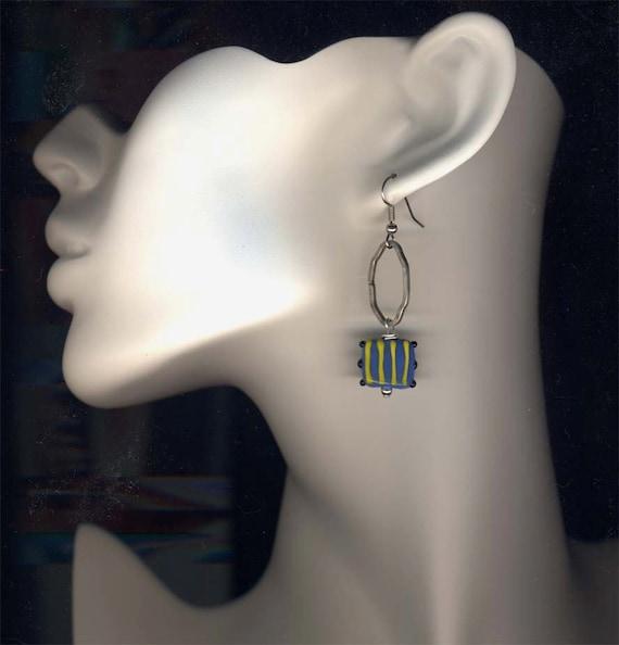 Yellow Blue Earrings, Long Fun Earrings, Surgical Steel Earrings, Hand Made Art Glass Earrings, Candy Land in Blue and Yellow Earrings SALE