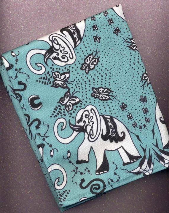 Linen Cotton Tea-towel.Good Luck Elephants in Turquoise. Original Art Work of Mine)