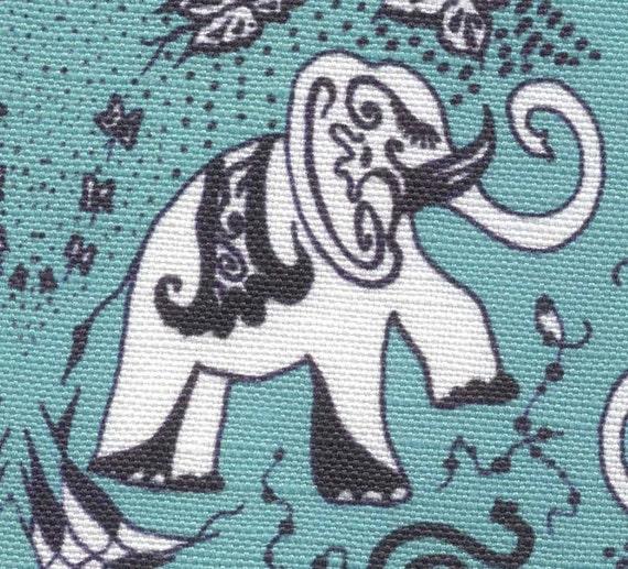 Linen Cotton Tea-towel - Good Luck Small Elephants in Turquoise - Original Art Work by AnnaArt72