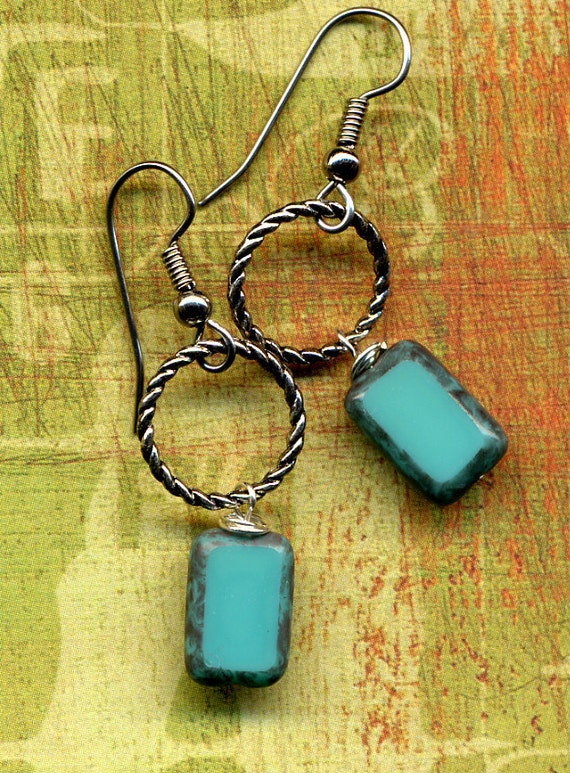 Earrings with Czech Turquoise  Hand made Beads)