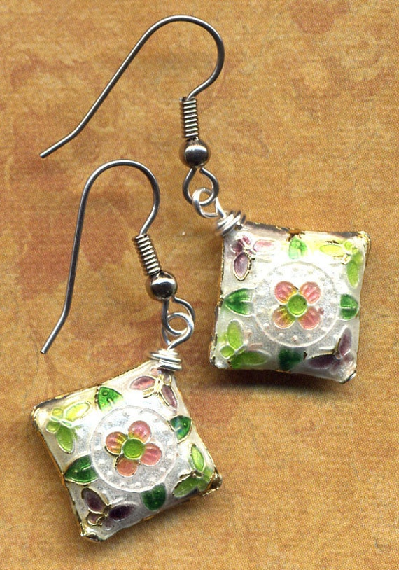 Earrings made with Lovely Floral Cloisonne . Spring- Summer Collection. Daisy and Butterflies on White