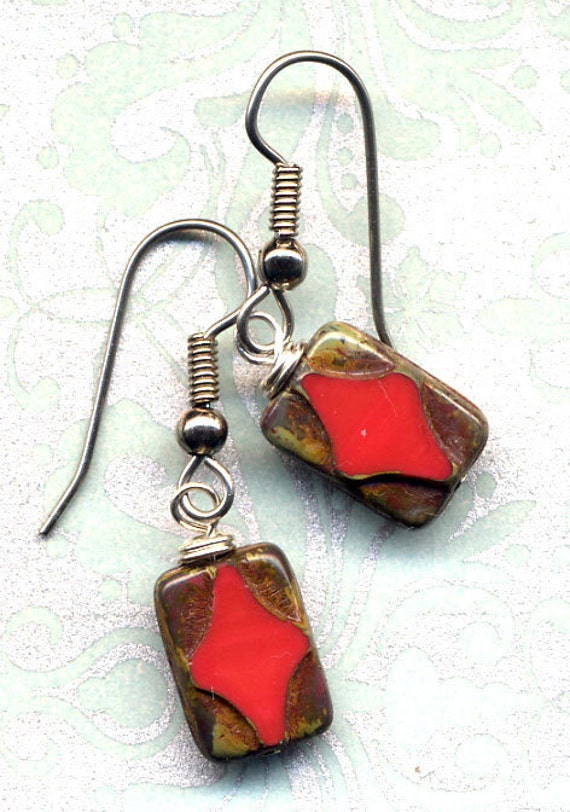 Earrings in Scarlet Red and surgical steel