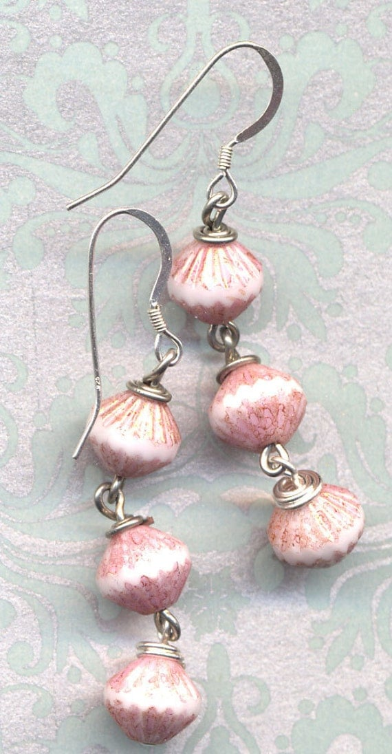 Earrings in White and Rose.Sterling Silver Ear Wire