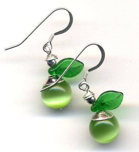 Granny Smith Apple Earrings. Sterling Silver Ear Wire, Green Apple Earrings, Cat Eye Earrings, Fruit Earrings, Jewelry by AnnaArt72
