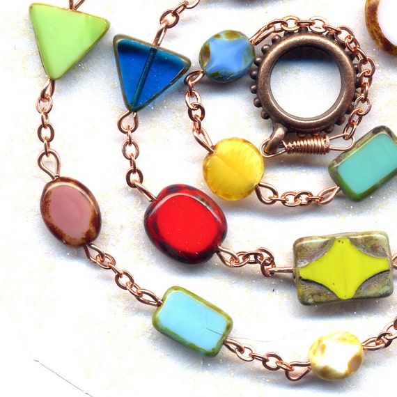 All the Color and Shapes that You would want  Rare Czech Glass Necklace Cooper Chain and Findings