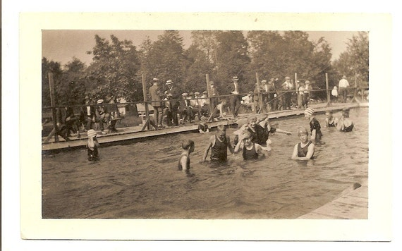 Vintage Photo Kids Public Swimming Pool Antique Swimsuit - Special Pricing