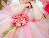 Pink Blossom Fairy Custom Sewn Tutu, Sizes 3 - 7, up to 12 inches in length
