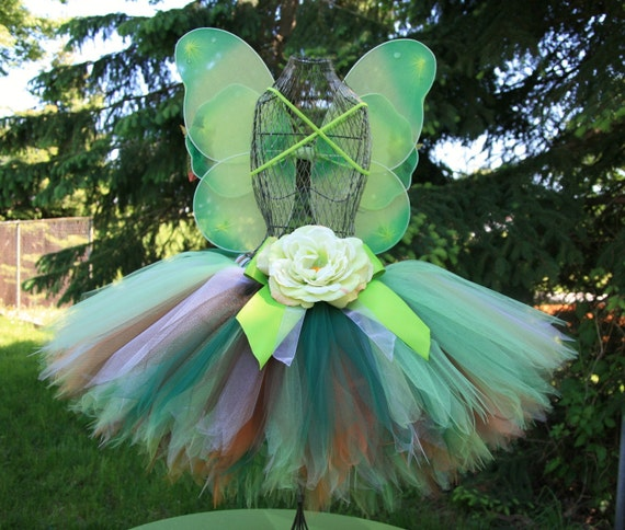 Woodland Fairy Custom Tutu Set, Green and Brown Sewn Tutu and Fairy Wings Set, Sizes 3 - 7