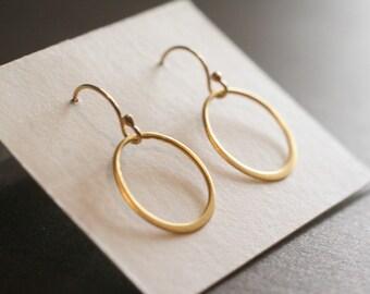 Tiny Gold Vermeil  Hoops, Tiny Gold Circles