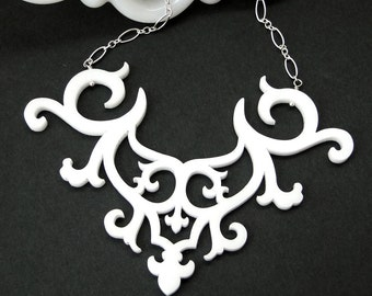 Ornamental Necklace in white