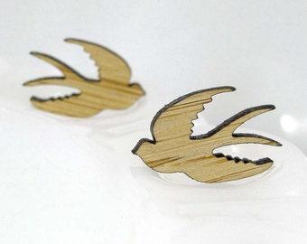 Swallow Stud Earrings in bamboo