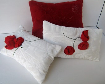 White Satin Pillow w/ Red Handcrafted Fabric Roses Embroidered stems Complete