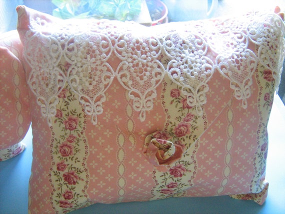 Pink Beige Lace Decorative  Pillow Shabby Chic Style Victorian  Roses Design White Lace Overlay Complete