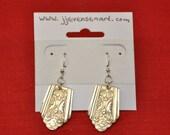 Silver Spoon Earrings Royal Saxony Pattern