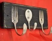 Rustic Black Forks and Baby Spoon Coat Rack