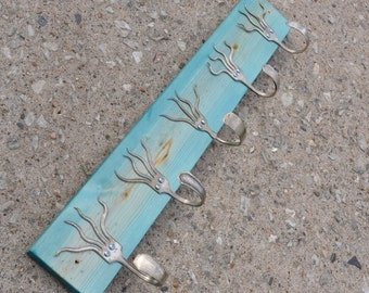 Go Turquoise Stained 5 Funky Forks Coat Rack OH YEAH